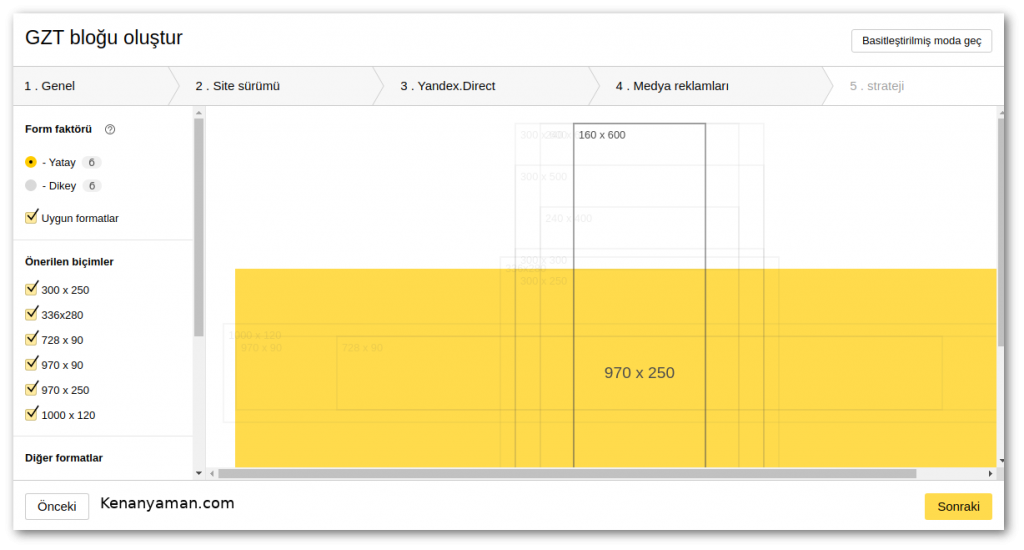 Set Yandex partner ad sizes