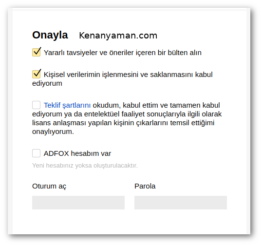 Yandex Partner confirmation screen