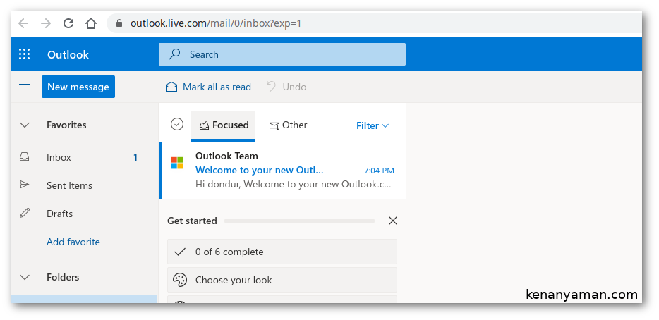 Microsoft hotmail inbox view